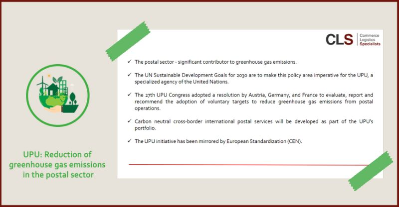UPU: Reduction of greenhouse gas emissions in the postal sector