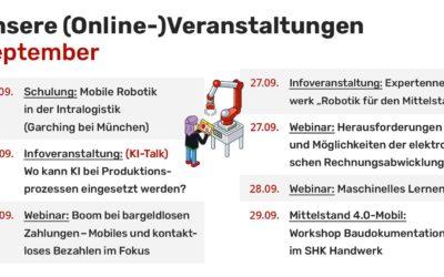 Mittelstand 4.0-Kompetenzzentrum Augsburg – Online Veranstaltungen September